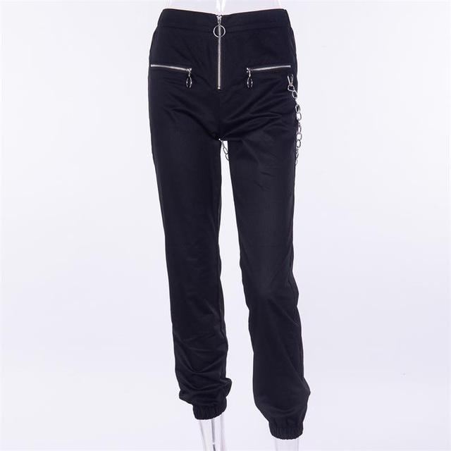 Casual Harem Pants With Chain And Zipper Bottom supprstore black L
