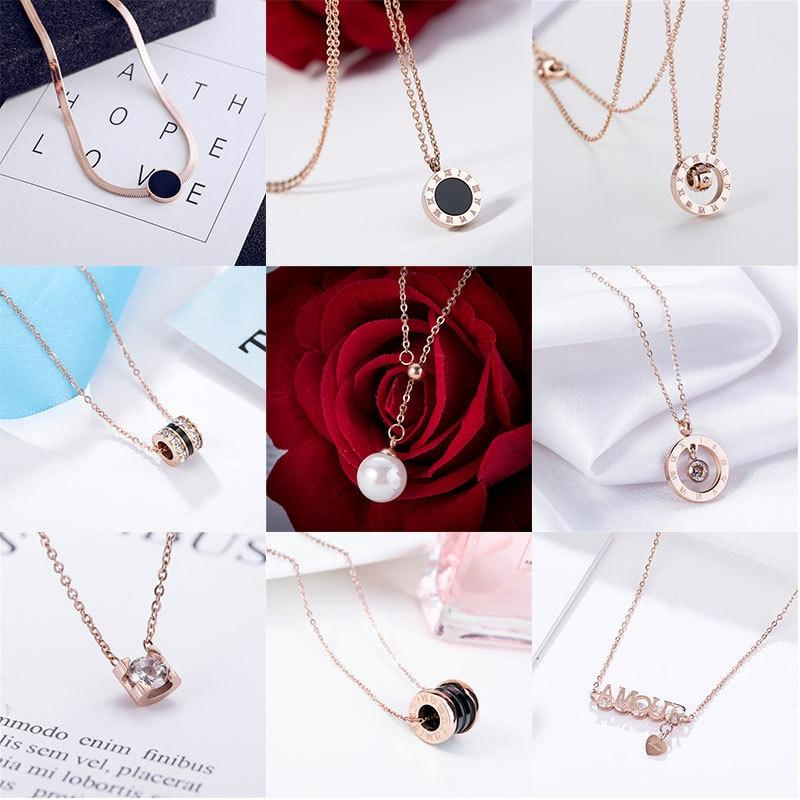 American Rose Gold Necklace With Ceramic Pendant Jewellery SupprStore