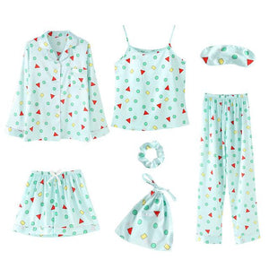 7 Pieces Pajamas Sets Faux Silk with Shapes Print Sleepwear SupprStore Turquoise M