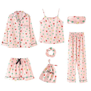 7 Pieces Pajamas Sets Faux Silk with Shapes Print Sleepwear SupprStore Pink with Multicolor Shapes M