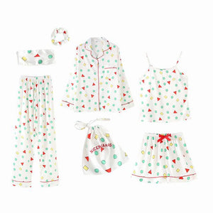 7 Pieces Pajamas Sets Faux Silk with Shapes Print Sleepwear SupprStore White with Multicolor Shapes M