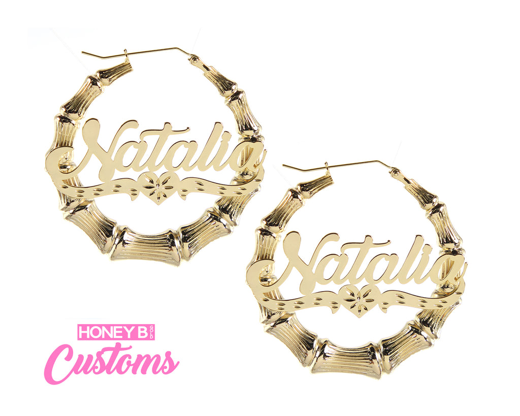 Custom Diamond Cut Bamboo Hoops- Metal