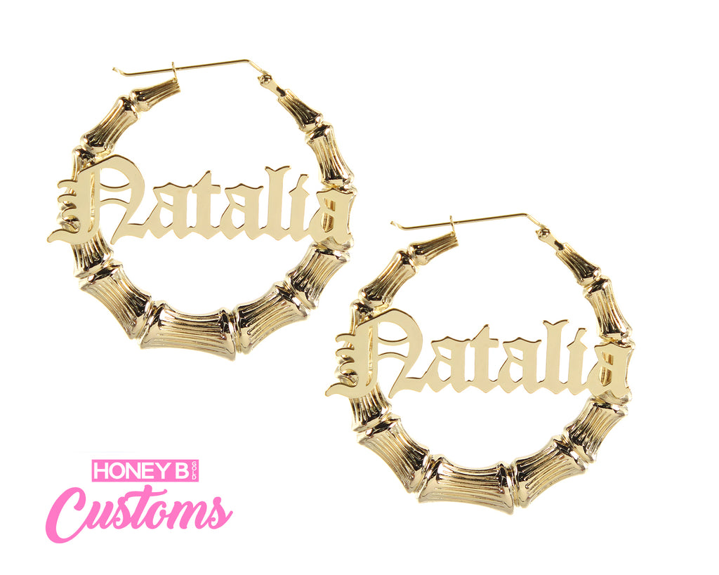 Custom Old English Bamboo Hoops- Metal