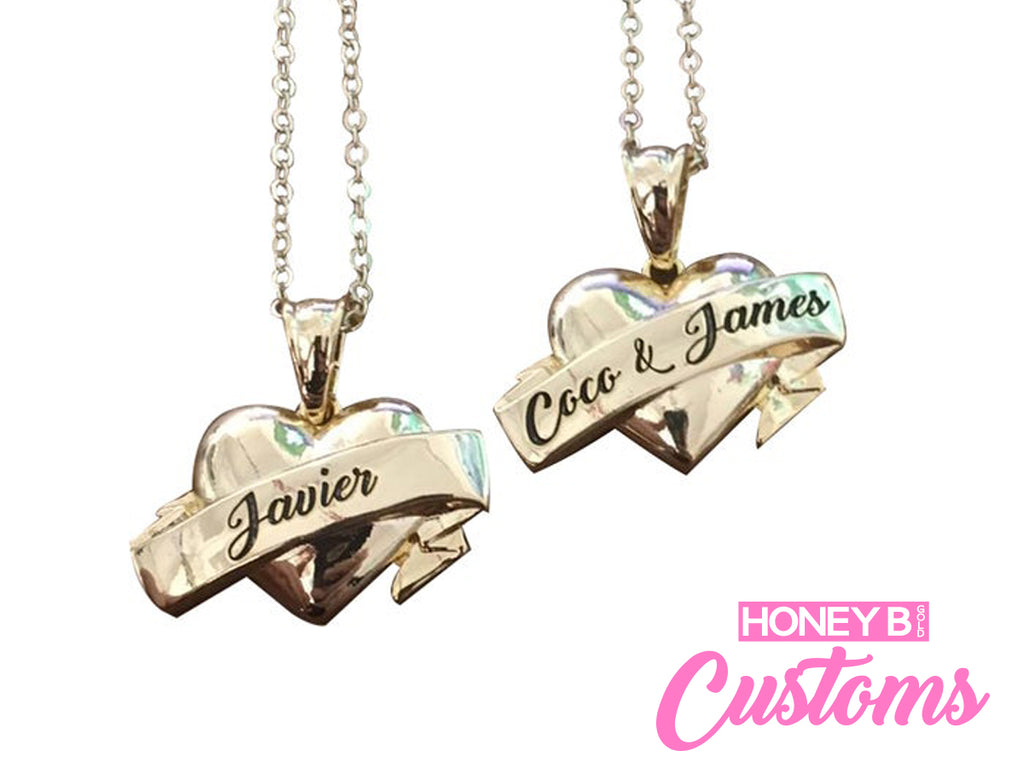 Customized Ribbon Heart Pendant