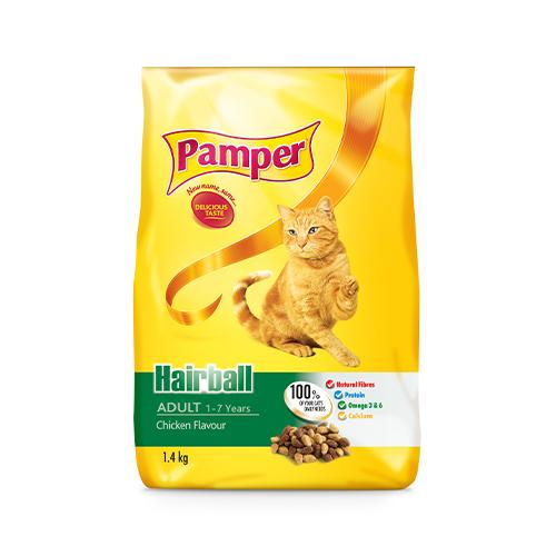 Pamper Hairball Adult Cat Food 1.4KG Dropawf