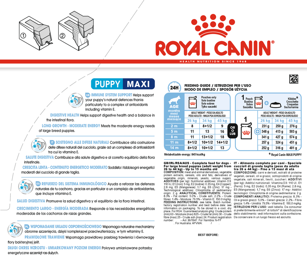 ROYAL CANIN Maxi Puppy Gravy Wet Dog Food | 10 x 140 Grams Dropawf