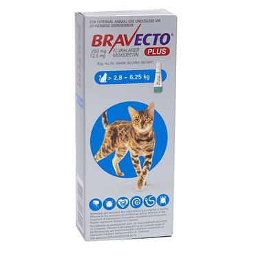 Bravecto Plus Cat Spot On Tick, Flea and Worm Treatment - 2.8-6.25kg Dropawf