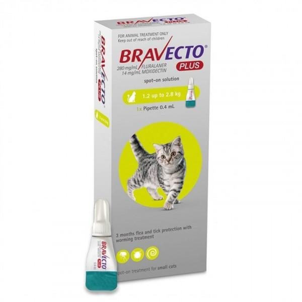 Bravecto Plus Cat Spot On Tick, Flea and Worm Treatment - 1.2-2.8kg Dropawf
