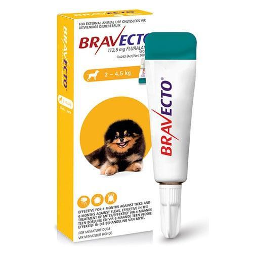 Bravecto Spot On Miniature Dog 2-4.5kg Tick & Flea Treatment Dropawf