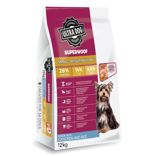 Ultra Dog Superwoof Chicken and Rice Small-Medium Adult Dog Food Dropawf