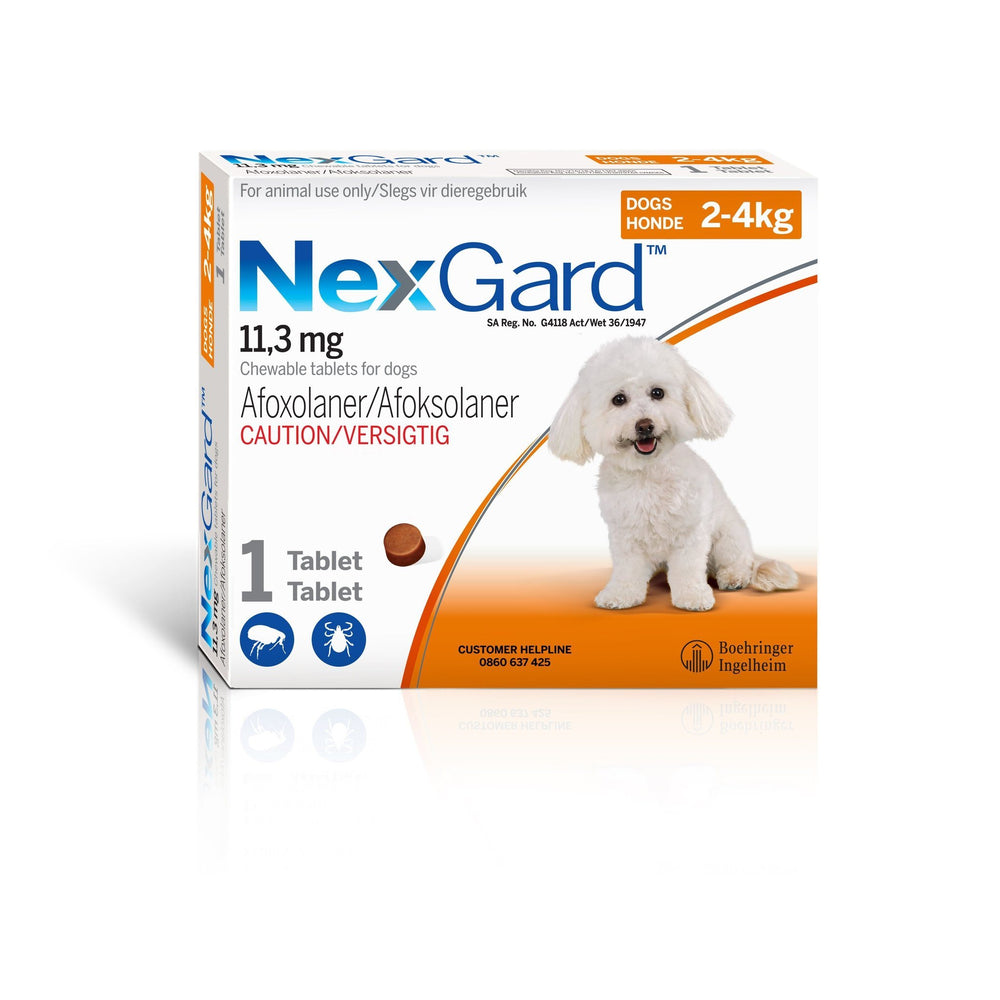 NexGard Small Dog 2-4kg Chewable Tick & Flea Tablet Dropawf
