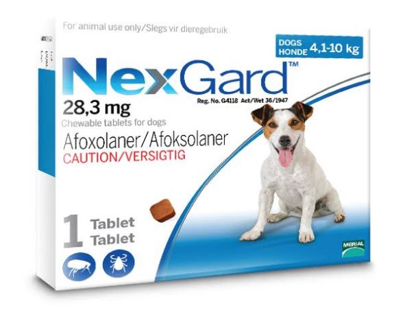 NexGard Medium Dog 4-10kg Chewable Tick & Flea Tablet