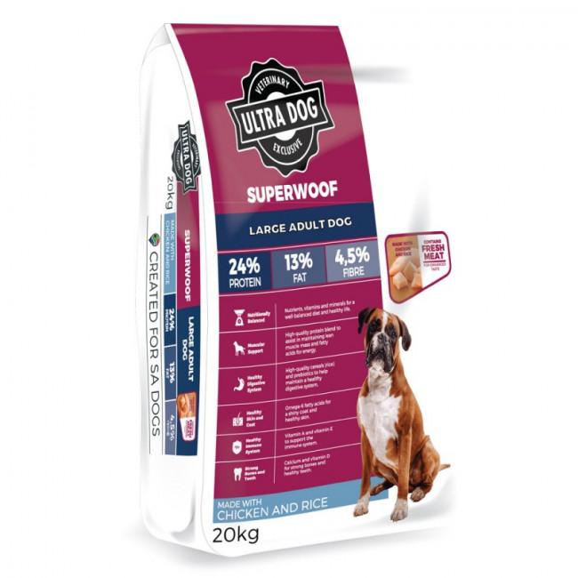 Ultra Dog Superwoof Large Adult Chicken & Rice Dog Food Dropawf