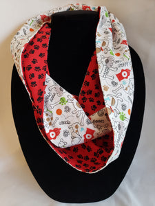 Cotton Reversible Infinity Skinny Scarf in Doggy Doodles
