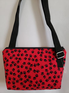 Black Paws on Red Crossbody Bag