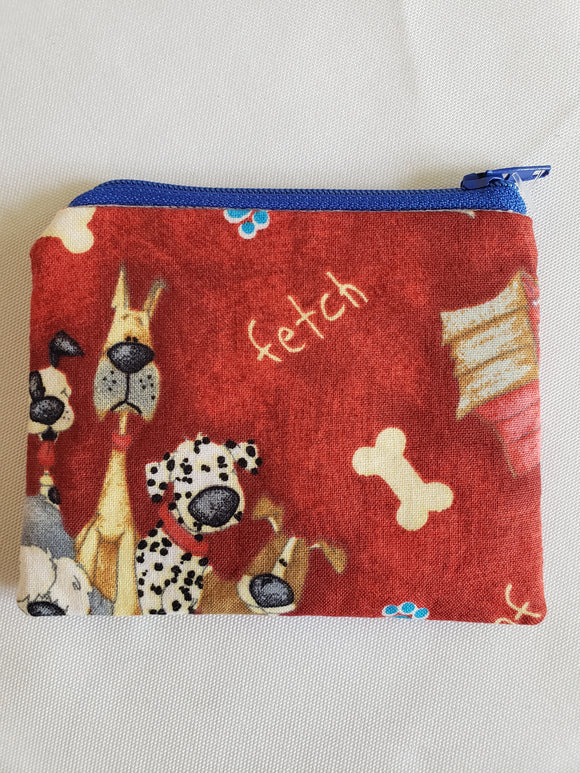 Cartoon Dogs on Red Zip Pouch (Small)