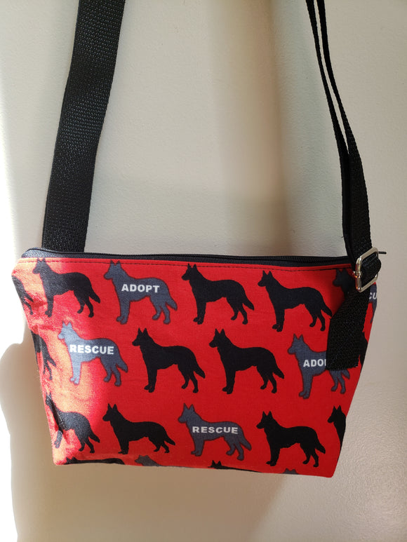 Adopt / Rescue Dog in Red Crossbody Bag