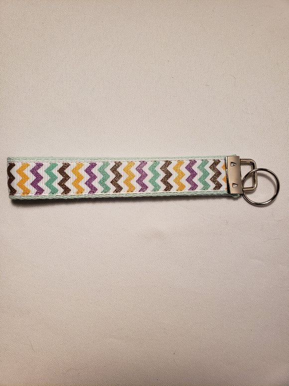Autumn Glitter Chevron Key Fob