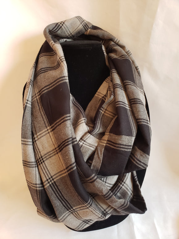 Autumn Infinity Scarf in Black & Gray Plaid