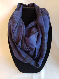 Autumn Infinity Scarf in Blue & Black Plaid