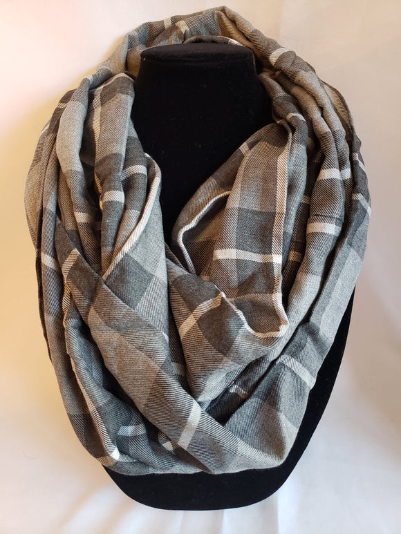 Autumn Infinity Scarf in Gray Plaid