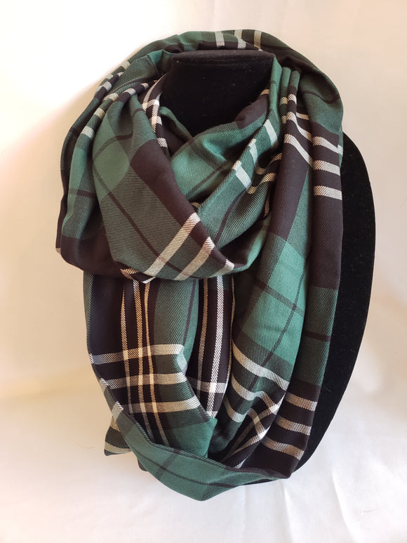 Autumn Infinity Scarf in Green, Black, & White Plaid