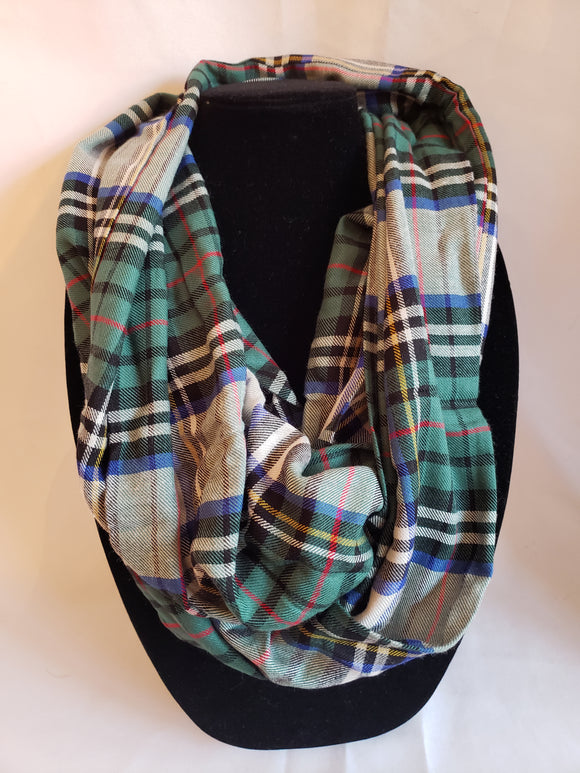 Autumn Infinity Scarf in Green, White, Blue, Black, Yellow, & Red Plaid