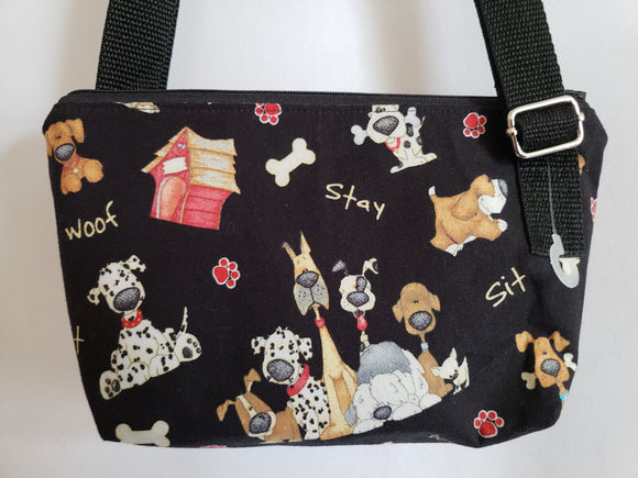 Cartoon Dogs on Black Crossbody Bag