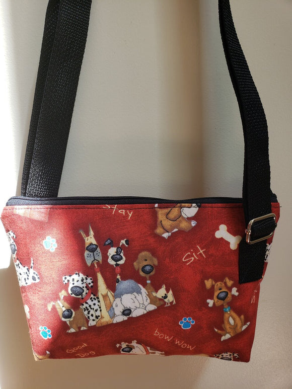 Cartoon Dogs on Red Crossbody Bag