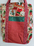 Christmas Victorian Stamps & Stripes Tote Bag