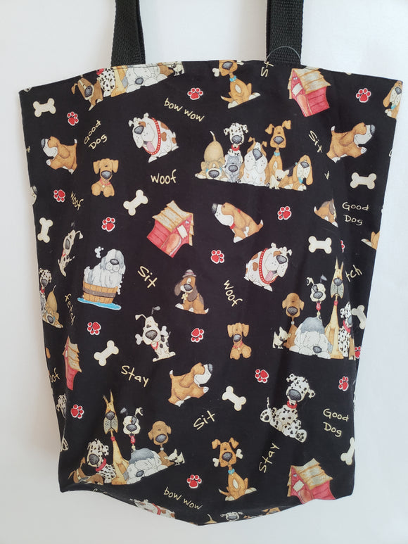 Cartoon Dogs on Black Tote Bag