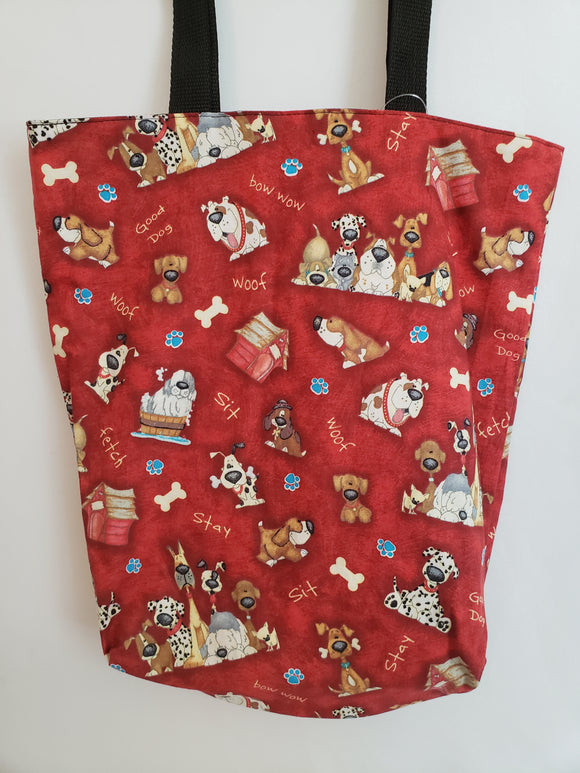 Cartoon Dogs on Red Tote Bag