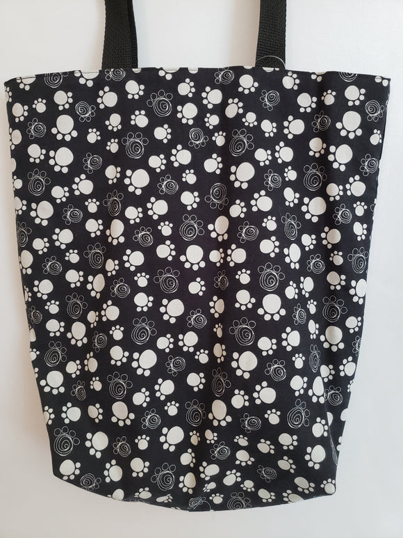 Dog Paws White on Black Tote Bag