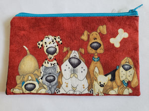 Large Cartoon Dogs on Black Zip Pouch (Large)