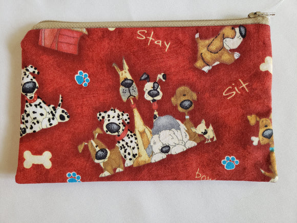 Cartoon Dogs on Red Zip Pouch (Large)