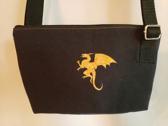 Dragon in Gold Glitter Crossbody Bag