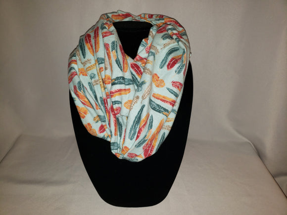 Flannel Infinity Stash Scarf in Feathers