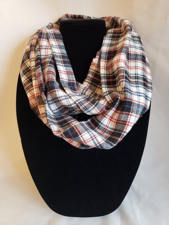 Flannel Infinity Scarf in White, Black, & Red Plaid