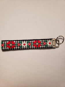 Floral Plaid Key Fob