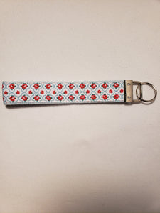 Country French Red Rose Key Fob