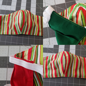 RTS Shaped Face Mask in Christmas Stripe