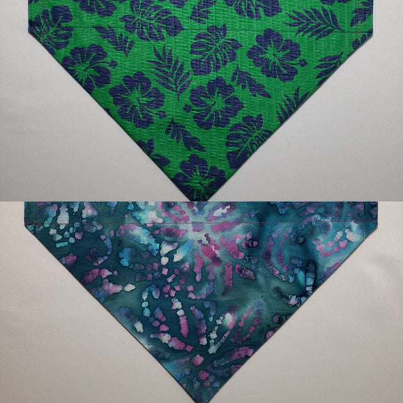 Blue Hibiscus Flowers on Green Over-the-Collar Pet Bandana