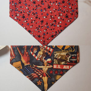 Cartoon Stars & Vintage Patriotic Posters Over-the-Collar Pet Bandana
