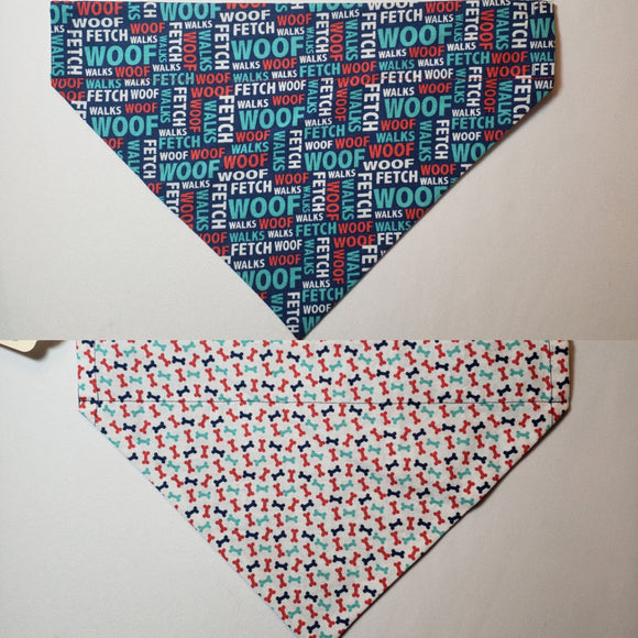 Dog Words on Navy Over-the-Collar Pet Bandana