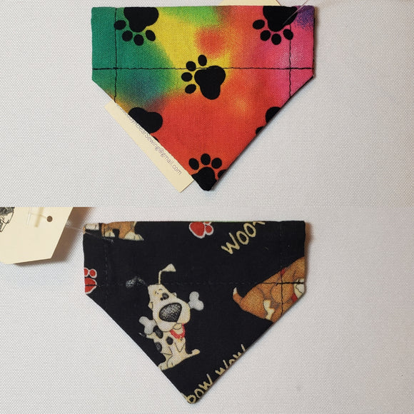 Pawprints on Rainbow Tie-Dye Over-the-Collar Pet Bandana