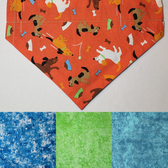 Cartoon Dogs on Orange Over-the-Collar Pet Bandana
