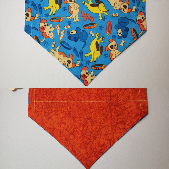 Cartoon Dogs on Blue Over-the-Collar Pet Bandana