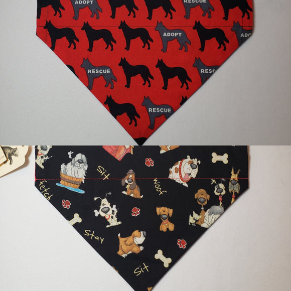 Adopt / Rescue on Red Over-the-Collar Pet Bandana