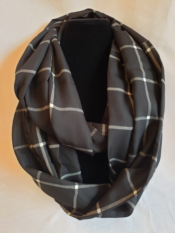 Lightweight Infinity Scarf in Black & White