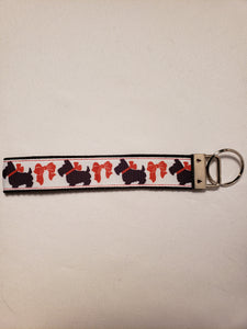 Scottie Dogs in Bows Key Fob